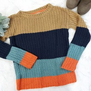 Sparrow Anthro Olaf Colorblock Striped Sweater